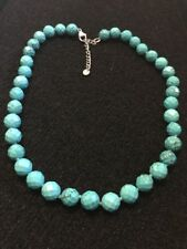 Lucas Lameth LUC Faceted Turquoise Sterling Necklace 58g