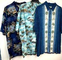 Lot of 3 Island Shores Shirts Size XL Island Theme 3 Short Sleeves Palms Trees+