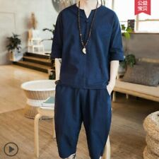 Men T-shirt Suits Chinese V-neck Loose Solid Summer Leisure Blouses Shorts 2Pcs