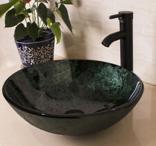 Bathroom Green Tempered Glass Vessel Sink Bowl w/ ORB Faucet Pop-up Drain Arc