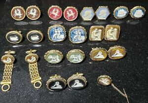 Vintage DANTE Cameo Incolay LARGE Cufflinks lot Museum Masterpiece lot