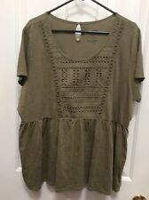 Sonoma Women's Plus Olive Green Blouse 2X