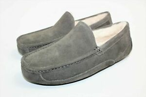 UGG ASCOT Suede Sheepskin Lined Slippers Grey House Shoes Men's Size 12 #1101110