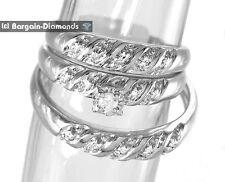 Diamond 3-Band Wedding Ring Set Solid 925 bridal .07 carat engagement groom
