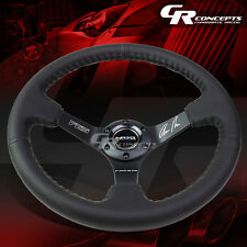 NRG BLACK TRI-SPOKE LEATHER 6-BOLT ALUMINUM RACING STEERING WHEEL+HORN BUTTON