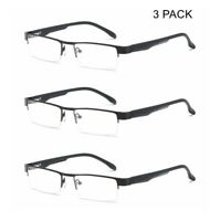 3 PACK Mens Business Reading Glasses Spring Hinges Readers Half Rimless +1.0~4.0