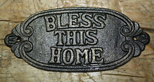Cast Iron BLESS THIS HOME Plaque Garden Sign Man Cave Home Decor