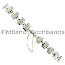 14mm Speidel Silver Tone Hexagon Center Clasp w/Safety Chain Ladies Watch Band