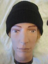 Mens or ladies Arcadia Group black beanie winter hat turn over rim