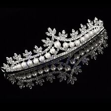 Bridal Princess Rhinestone Pearl Crystal Hair Tiara Wedding Veil Headband Crown