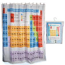 Cortina de ducha Tabla Periódica Elementos Química De Poliéster Con Ganchos Anillos Baño