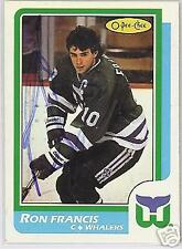 RON FRANCIS  AUTOGRAPHED 1988 O-PEE-CHEE    HOCKEY CARD