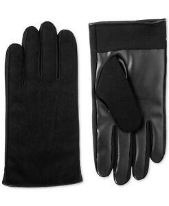 Isotoner Signature Black Men's Faux-Leather Driving Gloves Medium