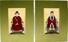 Conjunto de 2 Vintage Original pinturas emperador chino emperatriz antepasado retratos de seda