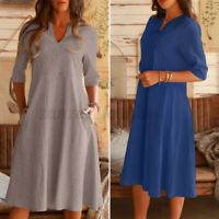 ZANZEA Women Casual Side Pockets A-Line Sundress Shift Dress Flare Midi Dress