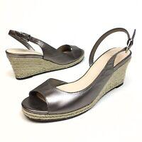 COLE HAAN NikeAir Metalic Leather Espadrille Wedge Sandals Peep Toe Womens Sz 9B
