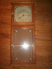 """Large Sunset Time Quartz Wall Clock with 2 Shelf Cabinet - 28"""" Tall"""
