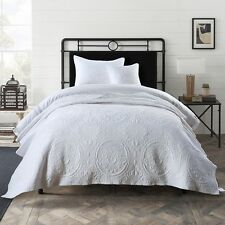 Macey and Moore Baroque White Single King Single Coverlet Bedspread Cotton