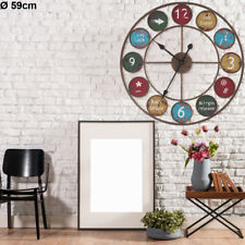 Metal wall clock round antique time display living room decoration digit sign