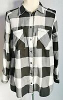 H&M Divided Women's Shirt Top Black White Size 14 100% Cotton Button Down VGC