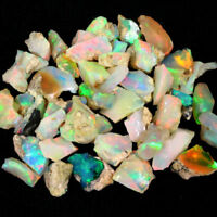 2+ Ct 100% Natural Ethiopian Fire Opal Play Of Color Rough Specimen Loose Gems