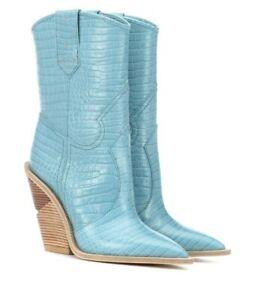 Fendi Cowboy Western Blue Croc Logo Pointed Toe Heel Boot Bootie 39