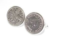 1966 Luxury Lucky Sixpence Coin Cufflinks Heads and tails - Cufflink box