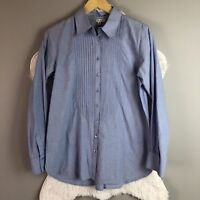 CABI Top Size Medium Chambray Pintucked Blouse Blue Button Down