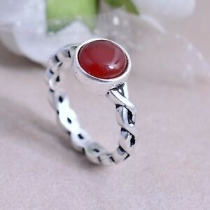 Handmade Natural Carnelian Silver Plated Brass Tree Branch Design Ring For Women