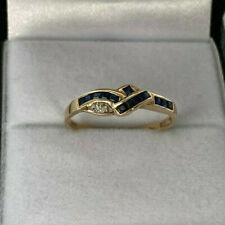 9ct Gold Hallmarked Ladies Sapphire & Diamond Ring.  Goldmine Jewellers.