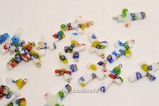 FREE Wholesale Lot 50ps Flower Millefiori Glass Cross Silver Plated Bead Pendant
