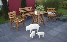 Ensemble salon de jardin table fauteuil banquette bois chêne foncé YANA