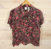 Emma James Women's Sz 18 Blouse Floral Short Sleeve Button Front Black Pink