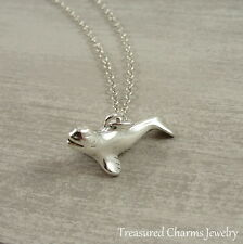 Silver Beluga Whale Charm Necklace - Ocean Nautical Marine Pendant Jewelry NEW