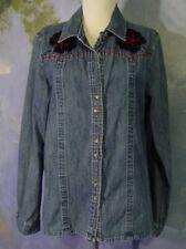 VINTAGE Boho BLACK FLOWERS Red Beads Stitched Denim WESTBOUND Shirt Blouse! M