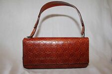 Salvatore Ferragamo Brown Embossed Leather Hand Bag Made in Italy