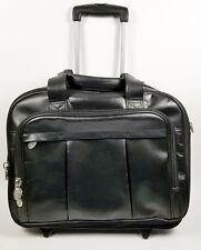 "McKlein Damen Damen Black Leather 2-in-1 Removable Wheeled 17"" Laptop Case"