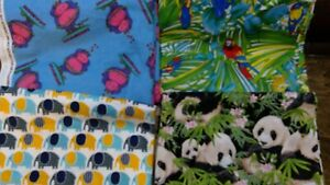 Lot of 4 Pcs Quilt Craft Fabric - Cotton & Flannel - Jungle Theme 6+ yards