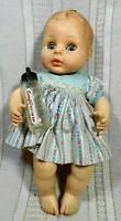 """Vntg Horseman Drink & Wet Baby Molded Hair Open Close Eyes 1982 11"""" Glass Bottle"""