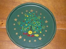 Vintage Nashco NY Handpainted Green with Christmas Tree Metal Serving Tray Platt