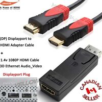 DisplayPort to HDMI Video Adapter M/F + Ultra 15ft HDMI Cable,Ethernet,3D,Audio
