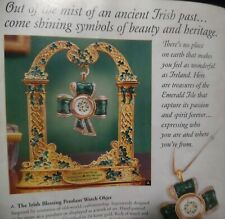 Nib Irish Luck & Blessing Cross Watch Pendant & Celtic Display Franklin Mint