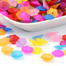 200pcs Colorful Transparent Acrylic Flower Beads Frosted Bead Caps Flat 11x4mm