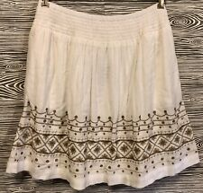 J Jill NWT Pleated White GRECIAN Cotton GOLD FLORAL Pleated ELASTIC Skirt S M L