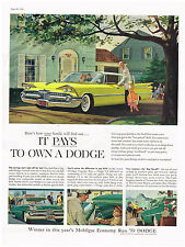 Vintage 1959 Magazine Ad Dodge Coronet Offers Savings Price Upkeep & Gas Economy