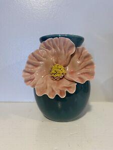 """Anthropologie BLOOM Vase Ceramic Turquoise Blue 3D Pink Flower Floral Retired~6"""""""