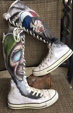 CONVERSE All Star Knee High Chuck Taylor White Sneakers CUSTOM ART BOHO M5 W7
