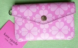 KATE SPADE BLEACHED OUT SPADE CARD POUCH KEY FOB RING:NWT PINK SPADE CASE