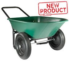 Poly Tray Wheelbarrow 2 Wheels Yard Rover Garden Backyard Tool Wagon Cart Wheel