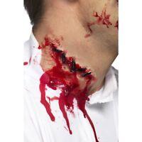 Men's Women's Neck Stitches Scar Red Latex Make Up Halloween Horror Fancy Dress